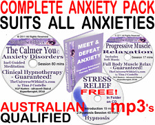 CALMER YOU ANXIETY CLINICAL HYPNOTHERAPY HYPNOSIS NLP MEDITATION CD mp3 s + MORE