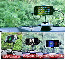 Newest Car Kit FM Transmitter MP3 Player USB Charger + Stand/Holder Universal IF