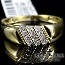 MEN'S NEW 10K YELLOW GOLD GENUINE REAL DIAMOND WEDDING ANNIVERSARY RING BAND