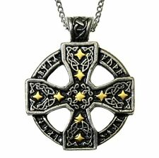 New Nordic Lights Runic Celtic Cross Stars Pendant Necklace Pewter Gilt Viking