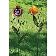 Gartenstecker Blume orange Gartenstab Gartendeko 113cm