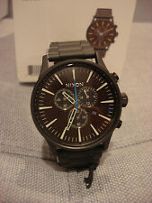 NIXON SENTRY CHRONO ALL BLACK BRASS BROWN A386 2209 WATCH - BRAND NEW - NWT