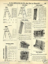 1931 PAPER AD Rolling Store Bent Side Library Ladder Trolley Track Bolt Cabinet
