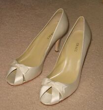 Chelsea by Grace High Shoes Silk Satin Women Open Toe Solid White Size 12 M New