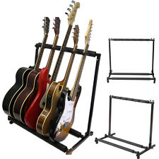 New 5 Five Multiple Guitar Bass Stand Holder Stage Folding Multi Rack Adjustable
