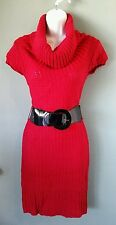 Rue 21 Cowl neck sweater dress size Med/color red with Shiney red blend