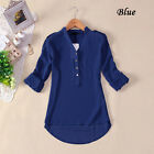 Spring Summer V-neck Chiffon Long Sleeve Casual Shirt Blouse Women blue