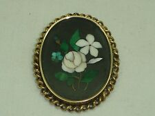 Antique Victorian Mosaic Pietra Dura Floral Rose Inlay Pin Gold Italy Florentine