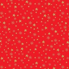 METALLIC CHRISTMAS GOLD STARS FABRIC