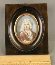 Antique French Hand Painted Miniature Portrait in Wood Frame