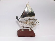 ANTIQUE 916 SOLID SILVER MINIATURE MODEL FISHING BOAT CHINESE JAPANESE c1915