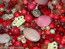 NEW MIX 6-15mm PINK /Burgundy 6/oz  LOOSE Beads Lot Glass, Gem, Stone, pearls