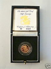 1991 ROYAL MINT ST GEORGE SOLID 22K GOLD PROOF HALF SOVEREIGN COIN BOX COA