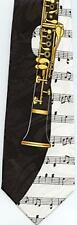 NEW! Clarinet and Music Notes, Musical Instrument Novelty Necktie  593-K