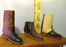 Lot (3) Men's Leather Boots Miniature Salesman's Samples Vintage Shoes Mini