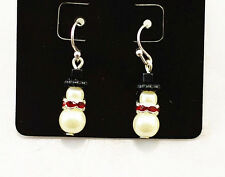 Festive pearl and crystal snowman earrings superb Christmas gift Xmas gear