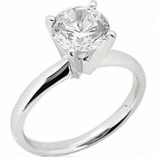 1 carat Round cut Diamond Engagement Solitaire 14K White Gold Wedding Ring H SI2