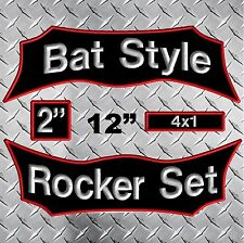 Custom Embroidered Rocker Name Patches Biker Motorcycle MC Club Tag Set Tabs bat