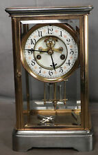 Antique French German Crystal Regulator AS IS Porcelain Dial Open Escapement
