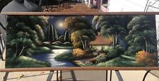 Early 1900's Victorian Oil On Velvet Painting Very Large Tyree Style.