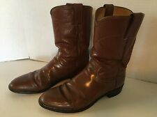 Justin Size 8 B Brown Leather Roper Cowboy Western Boots