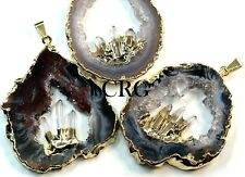 Large Gold Plated Geode Slice Pendant w/ 3 Fixed Quartz Points (GD20BT)