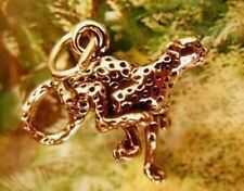 LOOK 2548 Gold Plated Cheetah Sterling Silver cat charm