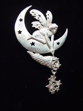 """JJ"" Jonette Jewelry Silver Pewter 'FAIRY Catching Stars' Pin ~ Dream Catcher"