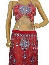Red Belly Dance Attire Fancy Costume Top Beaded Bra Coin Long Skirt Clothing S