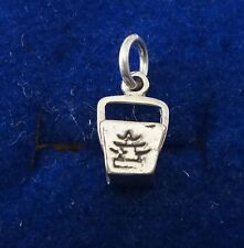Sterling Silver 3D 13x7mm Chinese Take-out To Go Box Charm