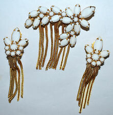 VINTAGE JULIANA MILK GLASS RHINESTONE, GOLD DANGLE CHAIN BROOCH & EARRING SET