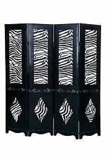 Black 4 Panel Leather Screen Room Divider w/ Zebra Print & Belt Buckle Accents