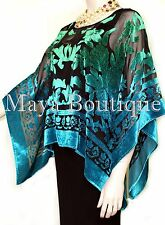 Art To Wear Poncho Top Burnout Velvet Hand Dyed Green Turquoise Maya Matazaro