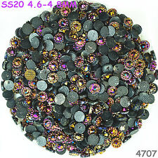 200pcs SS20 4.8mm Rose Viole AB Hot-fix Crystal Acryl Rhinestone Beads Flatback