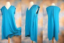 NEW $99 RACHEL ROY peacock blue asymmetrical high low sexy career dress M