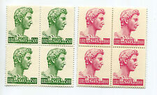 ITALY 1970 ST GEORGE DONATELLO FLUORESCENTE 1000L MNH BLOCKS x4 (8 stamps)
