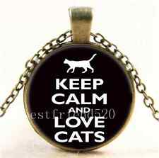 Vintage Keep Calm And Love Cat  Cabochon Glass Bronze Pendant Necklace