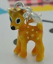 LOVELY LITTLE BAMBI DEER  CLIP ON CHARM FOR BRACELETS - 3D  - SILVER PLATE - NEW