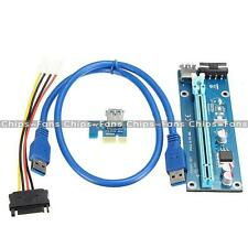 PCI-E Express USB 3.0 1x to16x Extender Riser Card Adapter SATA Power Cable 60cm