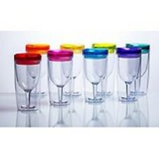 Wine Acrylic Glass Insulated Lid Goblet 8 Set Sippy Cup Picnic RV Bright Colors