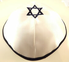 Blue White Star Of David Satin Yarmulke Kippah 20 cm Cupples Jewish Kippa Hat