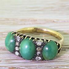 VICTORIAN GREEN TURQUOISE & ROSE CUT DIAMOND TRILGOY RING - 18k Gold - c 1880