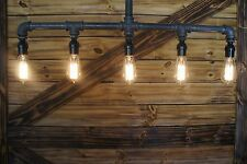 - Edison Age 5-Light Pendant Pipe Light Chandelier, Industrial pipe  light