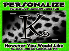 Leopard CHEETAH Grey Blk Print background PERSONALIZED Monogrammed License Plate