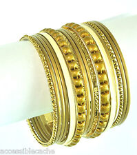 Chamak by Priya Kakkar Gold-tone & Ivory Set of 16 Metal Bangle Bracelets