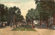 ON MAIN STREET JACKSONVILLE FLORIDA TROLLEY HORSE & BUGGY POSTCARD 1910