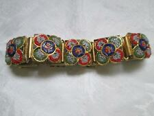 Vintage Made in Italy Micro Mosaic Panel Link Bracelet Colorful & Bright