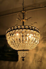 Antique Vnt French HUGE Basket Style Crystal Chandelier Lamp 1940's 18in dmtr***