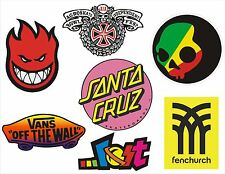 7 pegatinas Skate, Snow, Surf - Vans, Fenchurch, Lost, Independent, Santa Cruz.