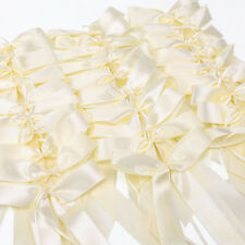 50x Ivory luxury Satin Ribbon pull bow for weddings cars gifts Cards Decoration